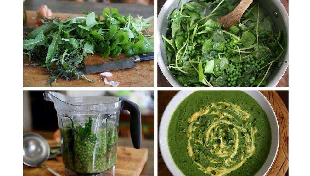 Picture collage of chopping and blending Spring Pea and Winter Greens soup