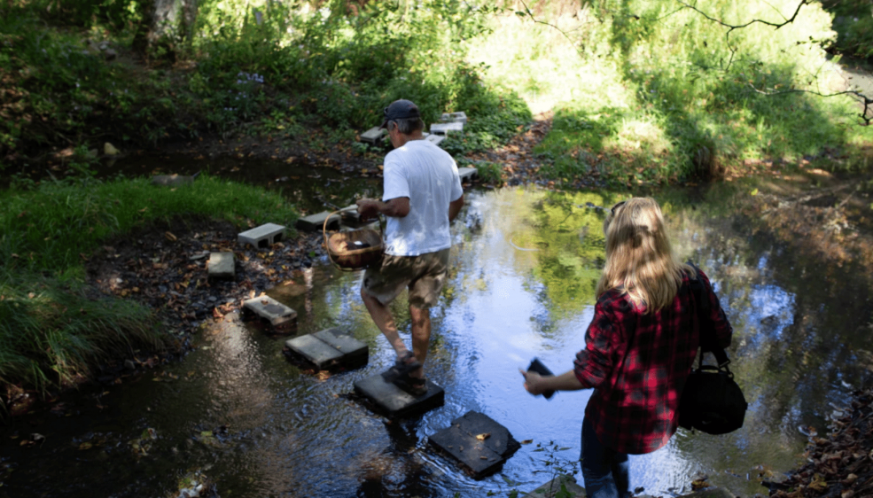 a man and a woman walking across steps in a creek