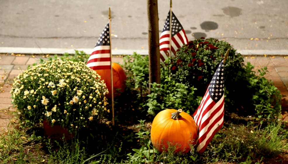 Pumpkins and American flags